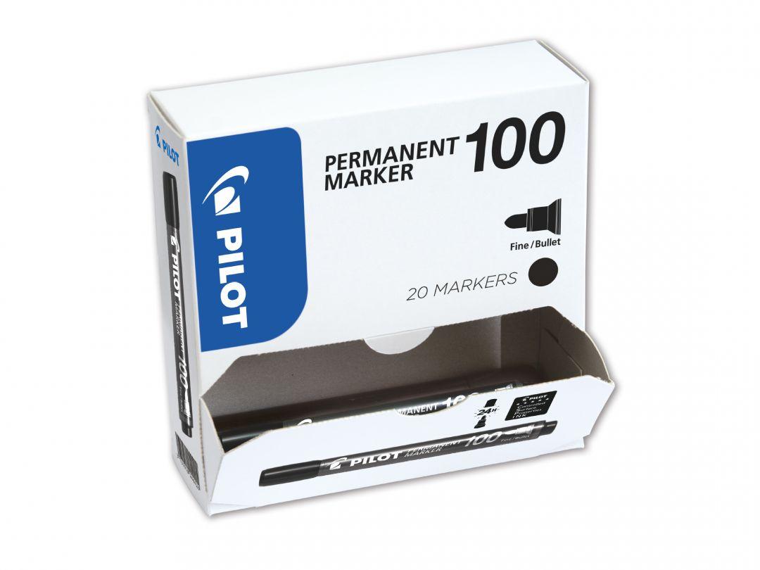 Permanent Marker 100 - Popisovač - XXL balení - Černá - Tenký hrot (F)