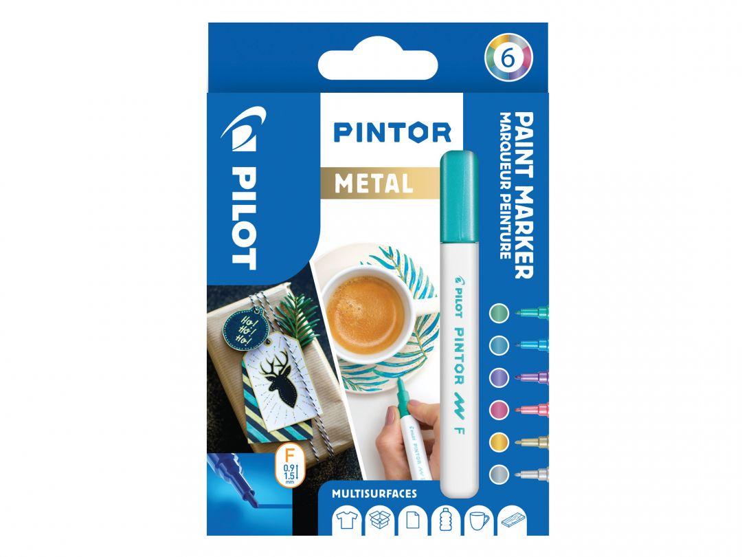 Pilot Pintor - Sada 6 ks - Metalické barvy - Tenký hrot (F)