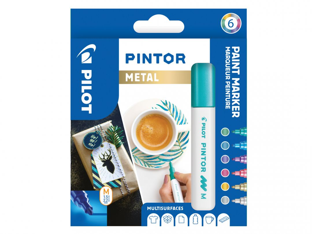 Pilot Pintor - Sada 6 ks - [Metallic] - Střední hrot (M)