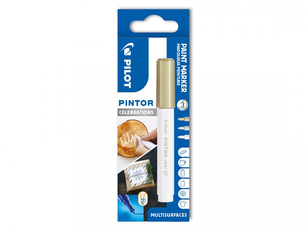 Pilot Pintor - Celebrations - pouzdro se 3 kusy - bílá, zlatá, stříbrná - Extra tenký hrot (EF)