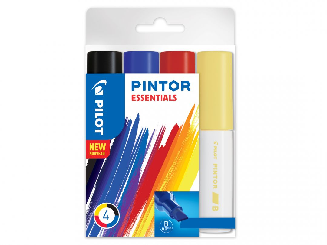 Pilot Pintor - Sada 4 ks - mix barev - Široký hrot (B)