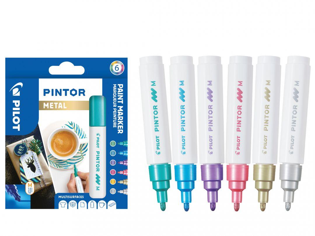 Pilot Pintor - Sada 6 ks - metalické barvy - Střední hrot (M)