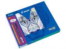 FriXion Fineliner - Kreslicí dárková sada - Černá, Světle modrá , Růžová , Fialová , Limetkově zelená - Tenký hrot (F)