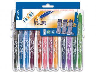 FriXion Ball - Set2Go s 12 Kusy - černá, modrá, nebeská modř, vínová, červená, korálová růžová, růžová, meruňková oranžová, fialová, l - Střední hrot (M)