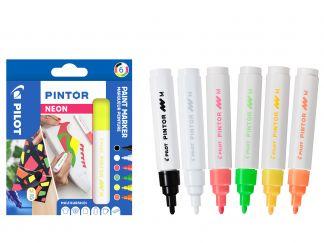 Pilot Pintor - Sada 6 ks - neonové barvy - Střední hrot (M)