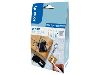 Pilot Pintor - DIY sada s visačkami na dárky - stříbrná, zlatá, bílá a metalická modrá - Tenký hrot (F)