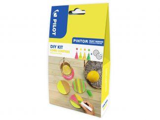 Pilot Pintor - [PINDIYCORKC] - neonová červená, neonová žlutá, neonová meruňková oranžová, neonová zelená - Střední hrot (M)